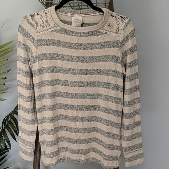Oatmeal Stripe Lace Shoulder Trim Sweater NWT